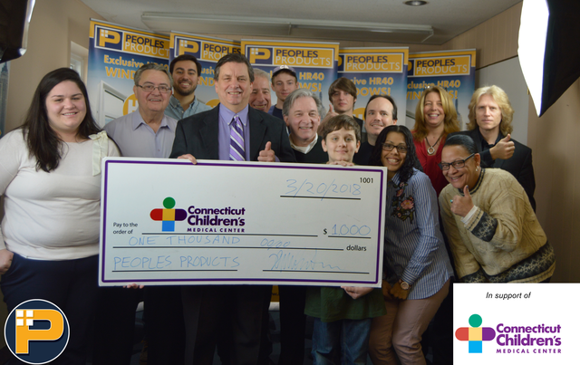 Peoples Products donates $100 to CT Children Medical Center
